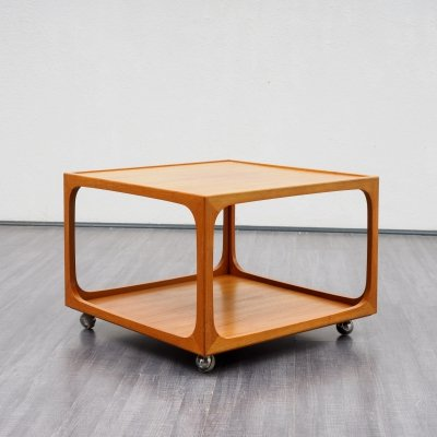 Vintage mid-century cubic teak coffee table on wheels, 1970s