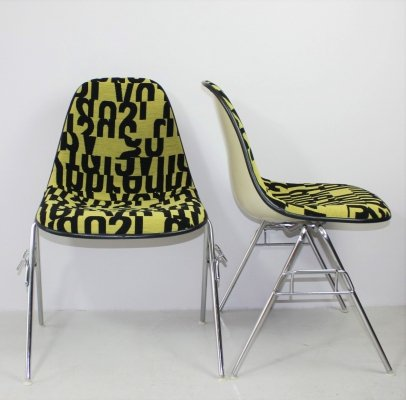 Upholstered Eames Side Chair with Stacking Base by Herman Miller, 1960s