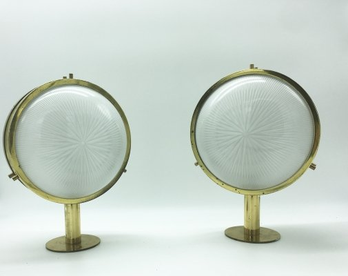 1960s Pair of Sergio Mazza Brass 'Gamma' Wall or Ceiling Lights for Artemide