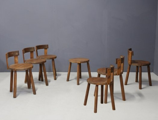 Set of 7 French MidCentury chairs in wood, 1950s