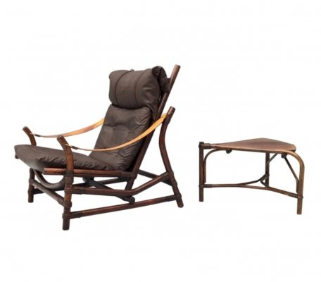 Bamboo & Leather Lounge Chair with a Table, 1960s