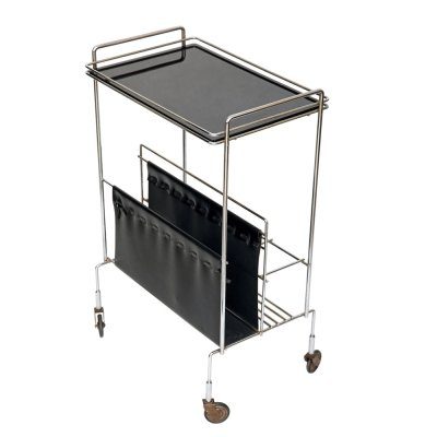 Chrome bar trolley / newspaper stand, 1970s