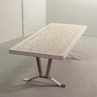 Large White Ceramic Tiles Coffee Table on Chrome Base, Belgium 1960s