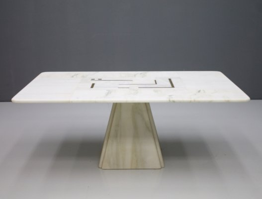 White coffee table in marble with brass & copper details, 1970s