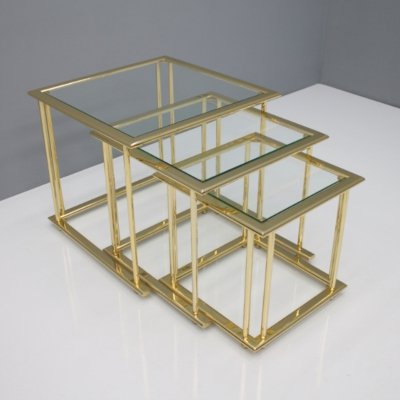 24 carat gold-plated brass & glass table set, 1970s