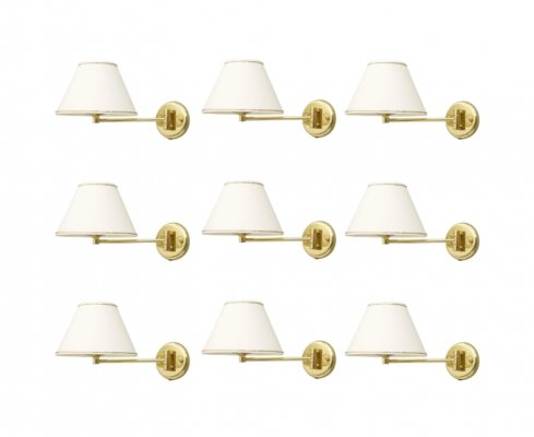 10 x wall lamp with movable brass arm, 1970s