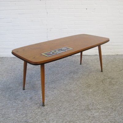 Vintage teak coffee table with ceramic tiles, 1960s