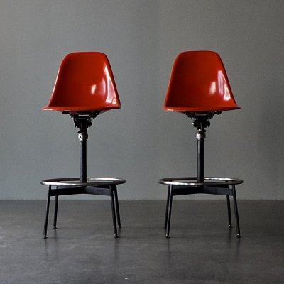 Pair of Eames drafting stool side chairs by Herman Miller, 1960s