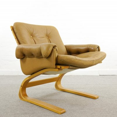 Leather Kengu Lounge Chair by Nordahl & Elsa Solheim for Rybo Rykken & Co, Norway 1970s