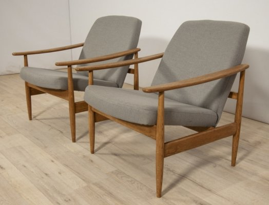 Pair of Czech Grey Armchairs from Ton, 1960s