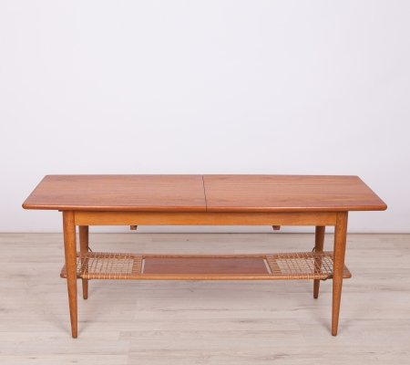 Mid-Century Teak & Raffia Coffee Table, 1960s