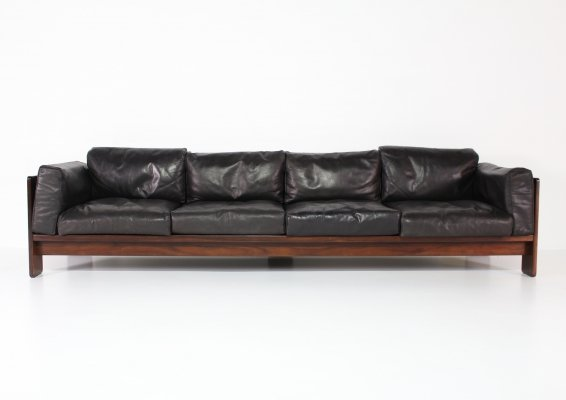 Rosewood & black leather Bastiano sofa by Afra & Tobia Scarpa for Gavina