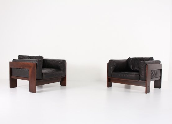 Rosewood Bastiano armchairs with black leather cussions by Tobia & Afra Scarpa for Gavina