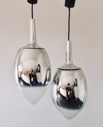 Pair of Peil & Putzler Chrome Glass Pendant hanging lamps, 1970s