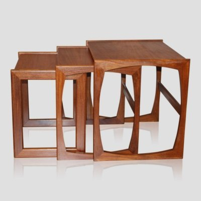 Vintage scandinavian style teak set of three nesting tables by G-PLAN, 1960s