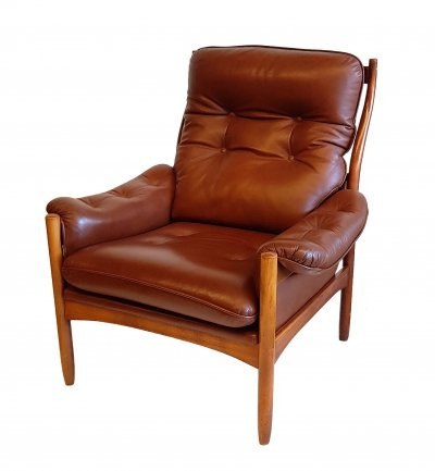 Leather Lounge Chair for Göte Möbler, 1970s