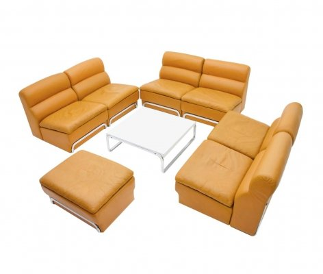 Horst Brüning Living Room set in Cognac Leather & Steel, 1970s