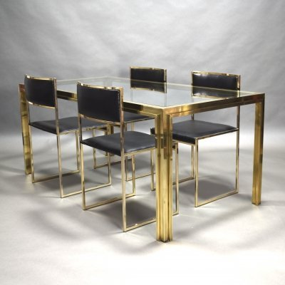 Willy Rizzo dining set in gold plate & brass, Italy 1970's