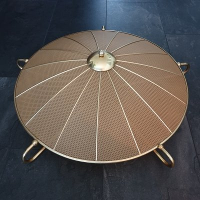 Vintage brass & polyester umbrella ceiling light by Erco, 1950s