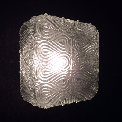1960's Square Infinity Structure Glass Flush Mount Wall Lamp