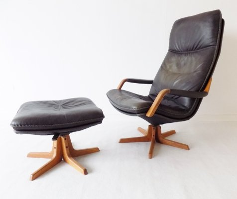 Berg Furniture Lounge Chair with adjustable ottoman, 1970s