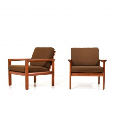 Pair of Easychairs in Teak by Sven Ellekaer for Komfort