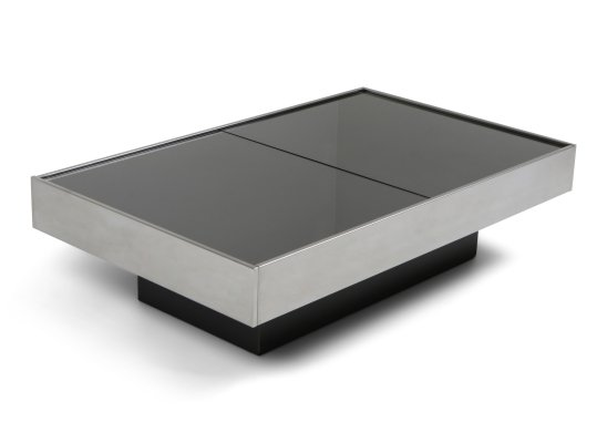 Willy Rizzo Sliding Chrome Coffee Table for Cidue, 1970s