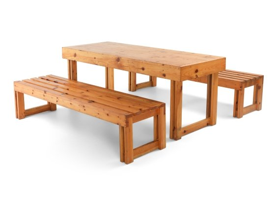 Italian Pine Bench & Table from Old Vinery, 1960s