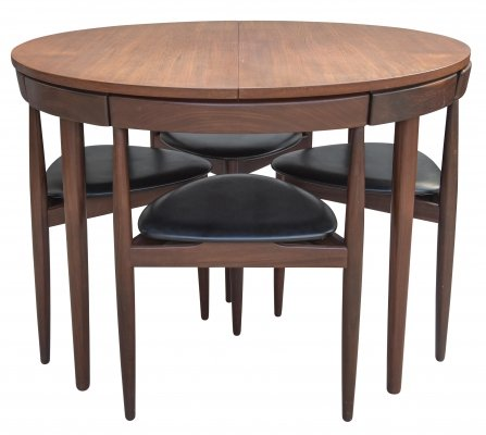 Hans Olsen Extendable Dining Table With Four Chairs for Frem Røjle, Denmark 1960s