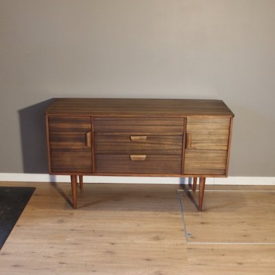 Small vintage Scandinavian style walnut sideboard by Uniflex, 1960s
