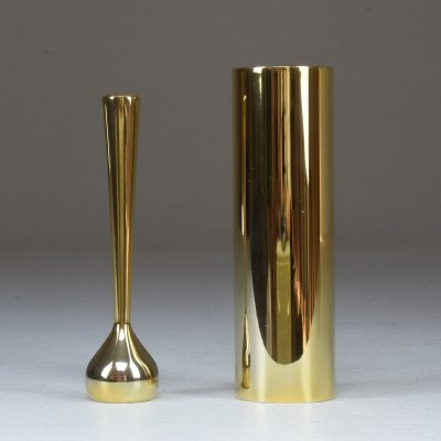 Pair of Mid-Century Danish Gilded Single Flower Vases by Hugo Asmussen, 1960's