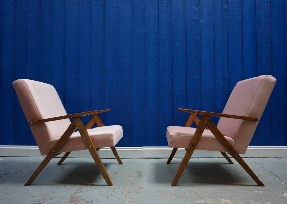 Pair of Mid Century Modern Champagne Pink Velvet Easy Chairs, 1960's