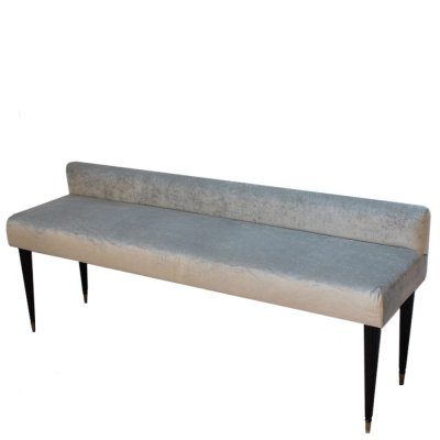 Midcentury long bench in light grey velvet, 1950s