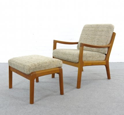 Senator Lounge Chair with Footstool by Ole Wanscher for Cado, Denmark