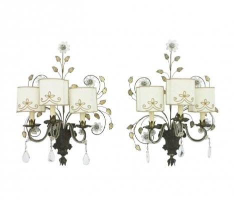Pair of large wall sconces, France 1960s