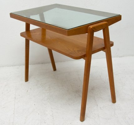 Mid century beech wood side table, Czechoslovakia 1960s