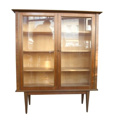 Walnut & maple Cabinet with glass doors, 1950s