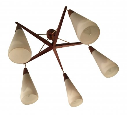 Teak Ceiling Lamp with 5 lights, 1960s