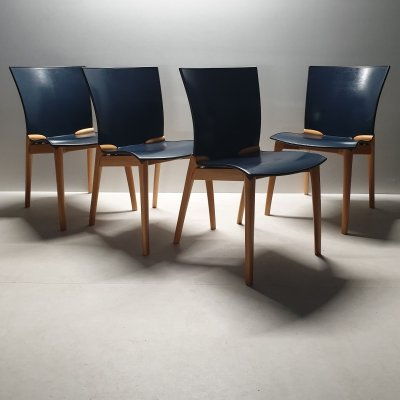 Set of 4 Cos dining chairs by Josep LLusca for Cassina, 1990s