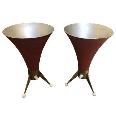 Mid-Century Modern set of Two Brass Italian Table Lamps, circa 1960