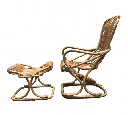Bamboo High Back Armchair & Stool, Italy 1960s
