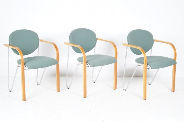 Set of 3 dining chairs by Four Design Denmark, 1990s