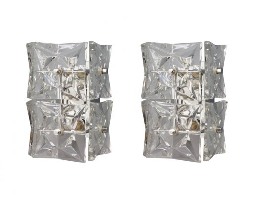 Pair of Crystal glass & chrome wall lights by Kinkeldey, 1970s