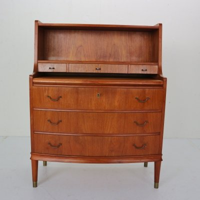 Midcentury Danish Modern Teak Wood & Brass Secretary Desk, 1960s