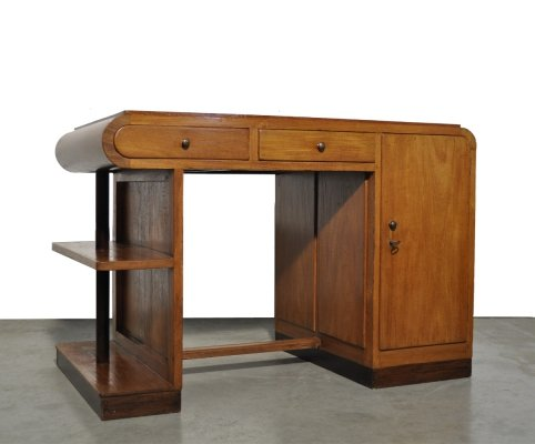 Art Deco vintage oak writing desk, 1930s