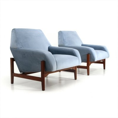 Pair of midcentury blue velvet armchairs by Attilio Allievi for Gilberto Cassina