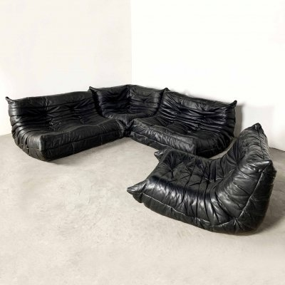 Modular 4-piece black leather Togo sofa by Michel Ducaroy for Ligne Roset, 1990s