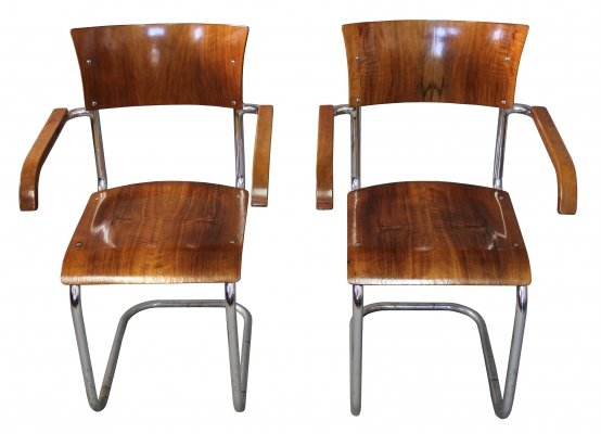 Pair of 1930's Modernist Cantilevered Chairs by Anton Lorenz