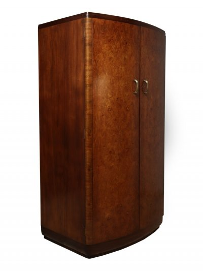 Art Deco Walnut Bow Front Gentleman Wardrobe, c1930
