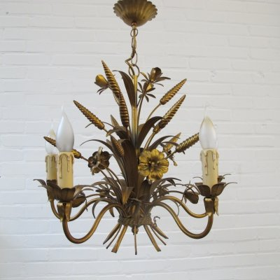 Wheat shoved flower hanging lamp in Hollywood regency style, 1960s